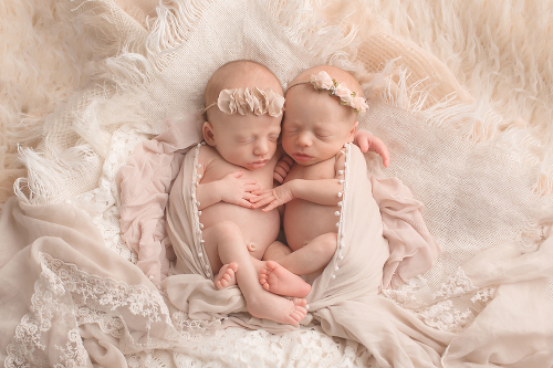 Fraternal twin girls northern virginia newborn photographer